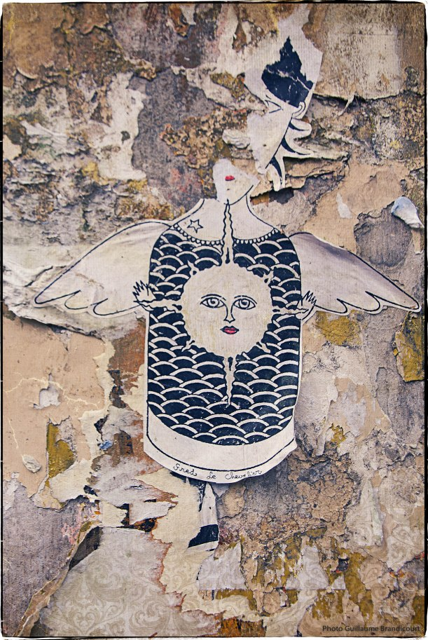 Dessin / Collage : Fred le Chevalier London, Brick Lane, September 1st, 2013 - Photo GB